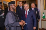 His Excellency Vice President Prof Yemi Osinbajo SAN, GCON chats with Mr Ramtane Lamamra, Min of State, Foreign Affairs & International Cooperation, Algeria, 13th Dec 2016. Photo by: Novo Isioro.