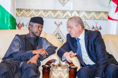 """His Excellency Vice President Prof Yemi Osinbajo SAN, GCON being welcomed by the Prime Minister Abdelmalek Sellal at the International Airport """"Houari Boumedienne"""" in Algeria, 13th Dec 2016. Photo by: Novo Isioro."""
