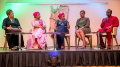 Mrs Bolaji Osimi, Mrs Aisha Umar, Kadaria Ahmed, Mrs and Mr Henry Adigun during a panel discussion education convened by Ace Charity during their Annual Fundraising Dinner in Abuja recently