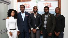 1st Runner Up, 'Sahara Group's Grooming Film Extrapreneurs Competition,' Chinenye Balogun, Executive Director/Co-founder, Sahara Group, Tonye Cole, Winner of the Competition, Joseph Duke, Ace Movie Producer/Director, Kunle Afolayan and 2nd Runner Up, Alabi Kayode at the event to unveil the winner of the competition which was designed to identify and empower the next generation of film makers in Nigeria…Tuesday in Ikoyi, Lagos