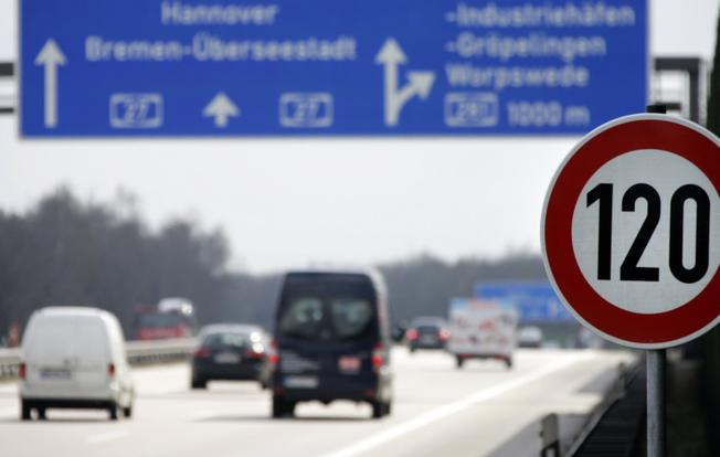 Cars pass a 120 km/h (75 mph) speed limit sign on the A27 Autobahn near the northern German city of Bremen in this file picture. Credit: IOL.co.za