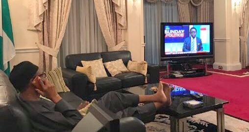 Buhari watching TV