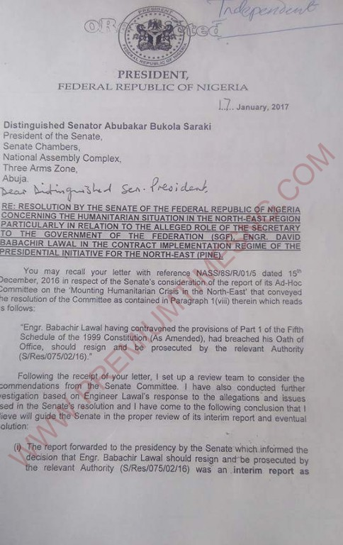 Buhari's letter to the national assembly about babachir-1