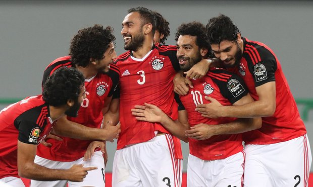 Mohamed Salah of Egypt celebrates a goal with his teammates during their 1-0 win over Ghana. Photograph: Chris Ricco/EPA