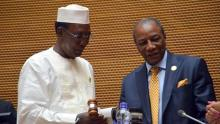 L-R:  Chadian President, Idriss Deby and Guinean President, Alpha Conde. The Guinean President replaced Idriss Deby as AU Chairman  Photo: Africanews