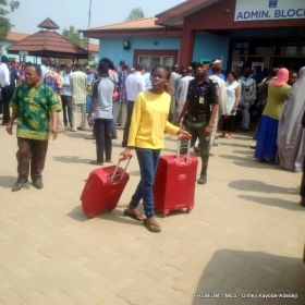 A student preparing to go home after eight people were abducted Friday at the Nigerian Turkish School, Isheri, Ogun State.