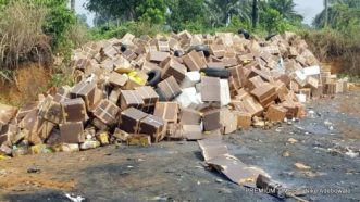 The seized fake drugs at the dump site of NAFDAC in Port Harcourt,Rivers State.