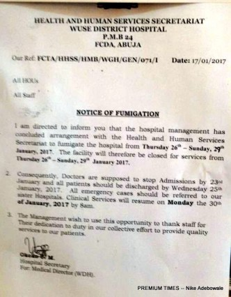 Notice of Fumigation by Wuse District Hospital