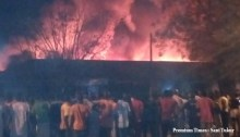 FILE PHOTO: Market on fire