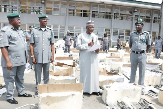 Comptroller-General of the Nigeria Customs Service, Hameed Ali speaking at the interception of the Pump-action rifles