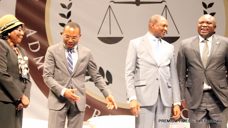 R-L: Lagos State Governor, Mr. Akinwunmi Ambode, with representative of the Vice President, Minister of Justice & Attorney-General, Mr. Abubakar Malami; Judge of the International Criminal Court, Mr. Chile Eboe-Osuji and representative of Chief Justice of Nigeria, Justice Clara Bata Ogunbiyi during the Administration of Justice Summit organised by the Lagos State Ministry of Justice at the Eko Hotels & Suites, Victoria Island, Lagos, on Monday, January 30, 2017.