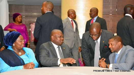 Lagos State Governor, Mr. Akinwunmi Ambode (2nd left); his Deputy, Dr. (Mrs) Oluranti Adebule (left); representative of the Vice President, Attorney-General & Minister of Justice, Mr. Abubakar Malami (right) and Attorney-General & Commissioner for Justice, Mr. Adeniji Kazeem during the Administration of Justice Summit organised by the Lagos State Ministry of Justice at the Eko Hotels & Suites, Victoria Island, Lagos, on Monday, January 30, 2017.