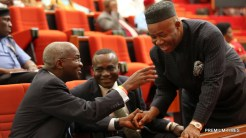 Minister of Power, Works & Housing, Mr Babatunde Fashola, SAN (left), Senior Special Assistant to the President on National Assembly Matters, Senator Ita Enang (middle) and Majority Leader of the Senate, Senator Goodwill Akpabio(right) during a Briefing of the Senate on the Planned Closure of the Nnamdi Azikwe International Airport, Abuja Runway for Repairs at the Senate Chamber on Tuesday, 17th January 2017.