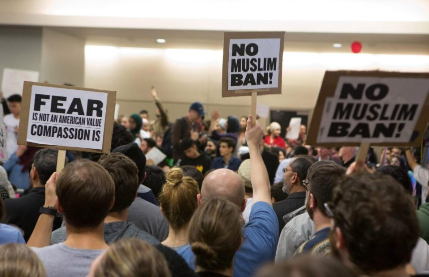 FILE PHOTO: Chaotic scenes at the country's airports in protest of Trump's Muslim ban [Photo credit: thesun.co.uk]