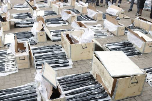 Pump-action rifles intercepted by the Nigeria Customs Service