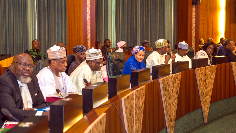 L-R: Min of Communications, Adebayo Shittu; Min of Defence, Mansur Dan-Ali; Min of Education, Adamu Adamu; Min of State Education, Prof Anthony Onwuka; Min of State Environment, Ibrahim Jibrin; outgoing Min.of Environment Mrs Amina Mohammed; FCT Minister Mohammed Bello; Min of Finance, Kemi Adeosun; and Min of Foreign Affairs Godfrey Onyeama during the Valedictory session at the Council Chamber, State House, Abuja, 22nd Feb 2017. Photo by: Novo Isioro