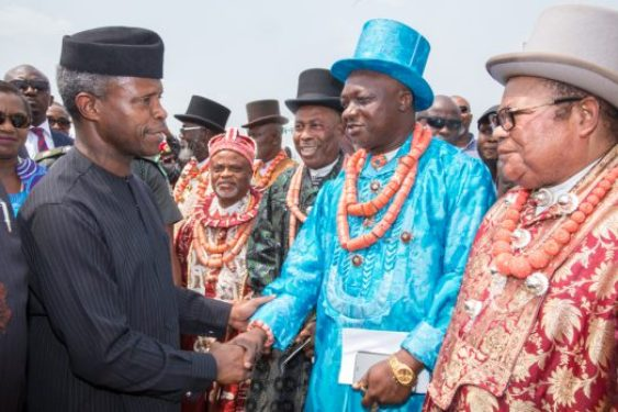 Ag President Osinbajo was received by the chiefs and elders of Rivers State on his arrival at the PortHarcourt airport to continue FG's Niger Delta dialogue. 13th Feb 2017. Photo: Novo Isioro.