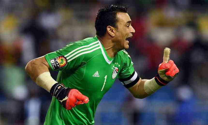 Egypt's goalkeeper Essam El-Hadary celebrates after his two saves turned the penalty shootout his team's way. Photograph: Gabriel Bouys/AFP/Getty Images