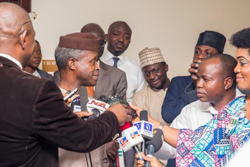 Acting President Professor Yemi Osinbajo Addressing Press Men on Buhari's Health Status