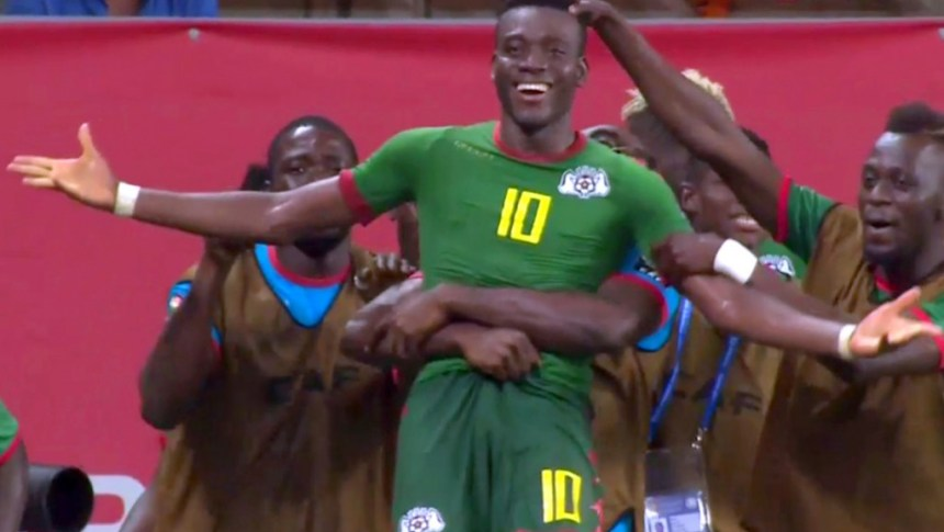 Alain Traore celebrating after he scored  Photo: Eurosport