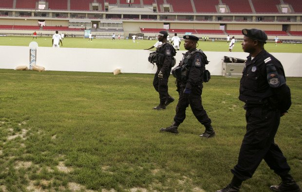 Angolan Police after the stampede in the Stadium