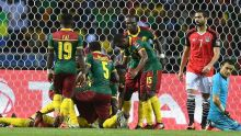 Cameroon celebrating after scoring in their game with Egypt at the AFCON  Photo: mirror.co.uk