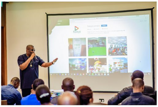 Don Jazzy at the media unviel of Flobyt in Lagos