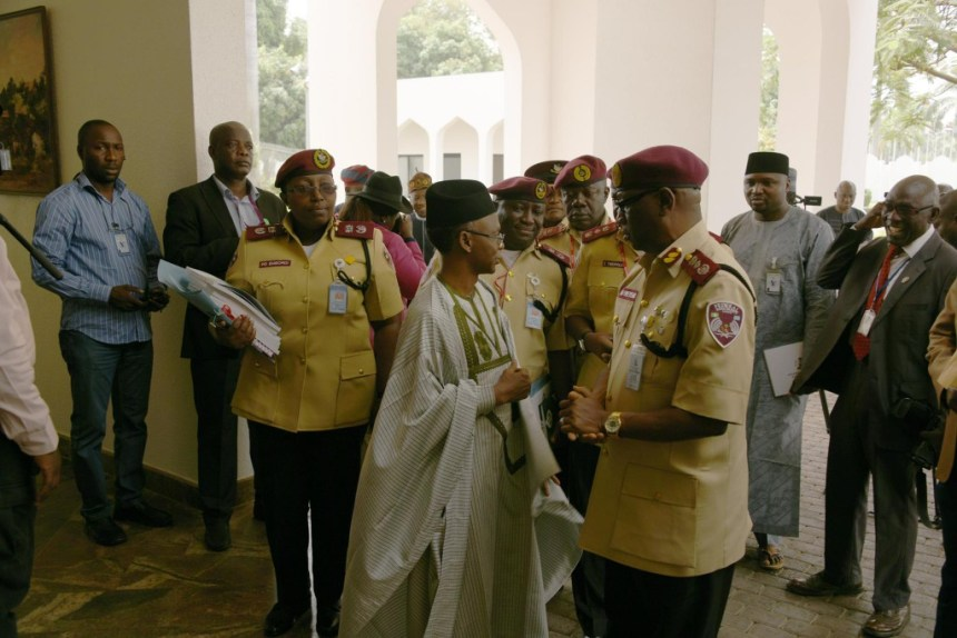 Governor Nasir El-Rufai of Kaduna and Corps Marshall of the Federal Road Safety Commission, Boboye Oyeyemi, at the presidential villa on Thursday, February 16, 2017 ... Photo Credit: FRSC Facebook Page