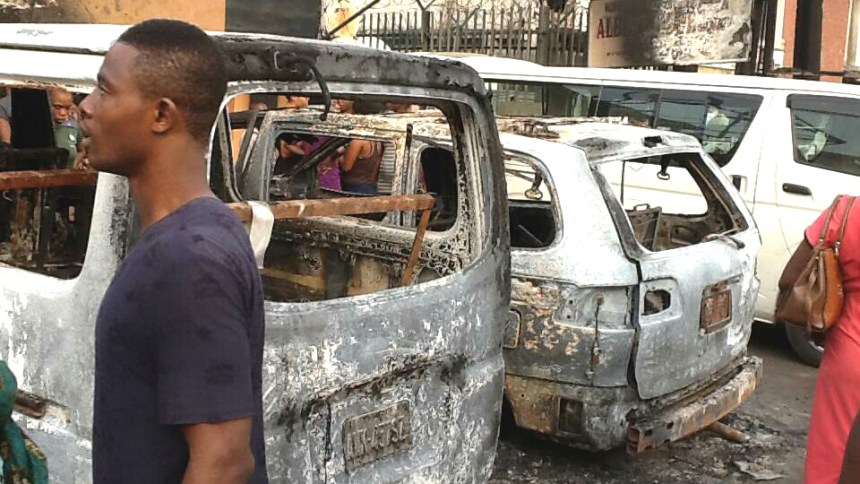 Vehicles burnt by the fire.