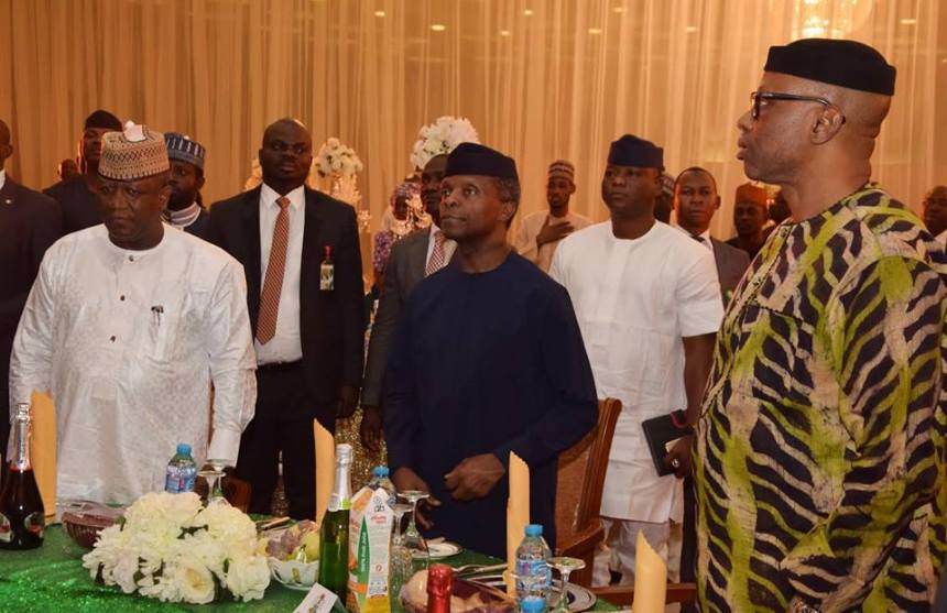 Vice President, Yemi Osinbajo with State Governors at the NEC meeting