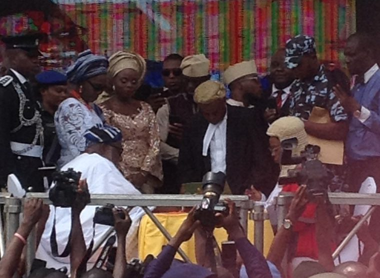 Image result for images of akeredolu taking oath of office