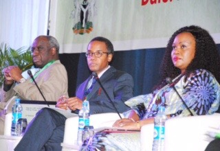 L-R, United Nations Country Representative, Dr Bilali Kamara, Director General, National Agency for the Control of Aids Dr Sani Aliyu andrWife of the Benue State Governor Dr Eunice Ortom during the 3rd National Council of AIDS in Abuja yesterday
