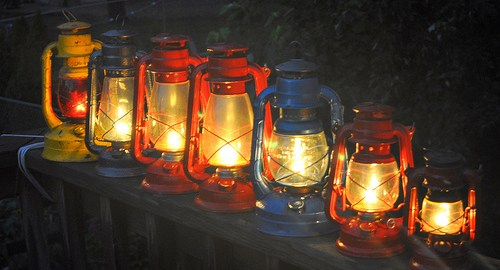Kerosene lanterns used to illustrate the story