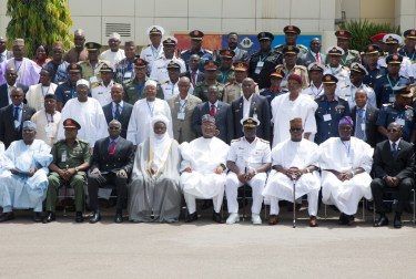 """Hon. Minister of Power, Works & Housing, Mr Babatunde Fashola,SAN(3rd left),Commandant National Defence College, Rear Admiral Samuel Ilesanmi Alade(4th right) and Sultan of Sokoto, Sa'ad Abubakar III (4th left), Governor of Kogi State, Alhaji Yahaya Bello(3rd right), President, Alumni Assocation of the National Defence College (AANDEC) , Brig Gen. J.N Temlong(right), AVM M.N Umaru(rtd) and others in a group photograph shortly after the Opening Session of the 7th Edition of the National Security Seminar 2017 organized by the Alumni Association of the National Defence College with the theme, """"Consolidating on the Gains of Counter Terrorism Operations in Nigeria,"""" at the National Defence College Auditorium, Abuja on Tuesday 21st, February 2017."""