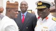"Hon. Minister of Power, Works & Housing, Mr Babatunde Fashola,SAN(middle),Commandant National Defence College, Rear Admiral Samuel IIesanmi Alade(right) and Governor of Kogi State, Alhaji Yahaya Bello (left) shortly after the Opening Session of the 7th Edition of the National Security Seminar 2017 organized by the Alumni Association of the National Defence College with the theme, ""Consolidating on the Gains of Counter Terrorism Operations in Nigeria,"" at the National Defence College Auditorium, Abuja on Tuesday 21st, February 2017."