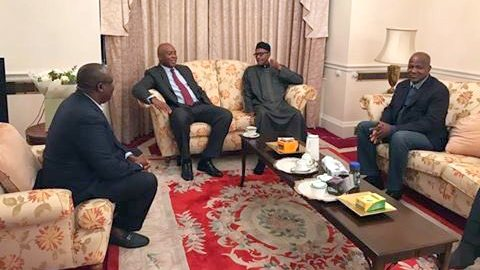 Senate President, Bukola Saraki and Speaker, House of Representatives meet President Muhammadu Buhari in London
