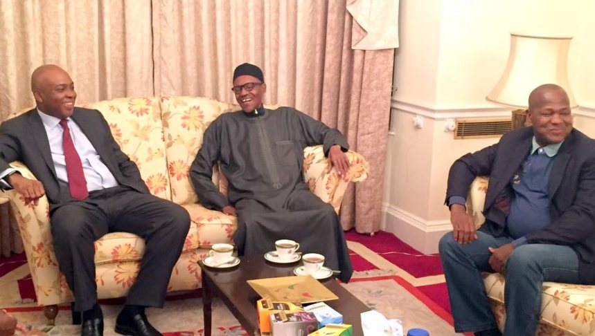 FILE PHOTO: Senate President, Bukola Saraki and Speaker, House of Representatives meet President Muhammadu Buhari in London