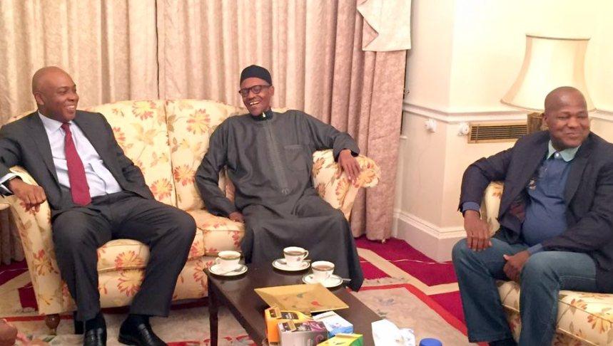FILE PHOTO: Senate President, Bukola Saraki and Speaker, House of Representatives meet President Muhammadu Buhari in London