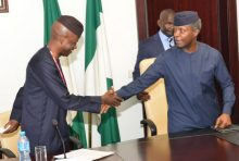 Vice President Yemi Osinbajo in a handshake with the  Chairman  Tactical Committee on Economic  Recession  Dr Bode Ayorinde during  House of  Representatives Tactical Committee on Economic  Recession  Interactive Session  with the Vice President at the Presidential Villa in Abuja on  Thursday (23/03/17)