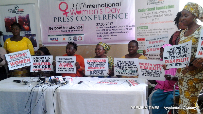 FILE: Women with disabilities in a press conference