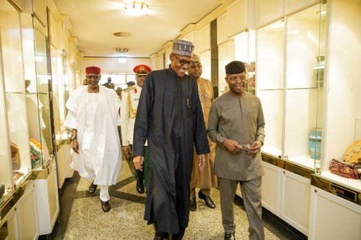 President Buhari with Acting President Osinbajo at the Presidential Villa on Friday shortly after his return from London.
