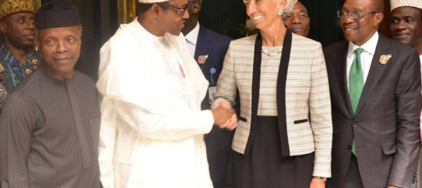IMF boss with Nigerian officials [Photo: Ventures Africa]
