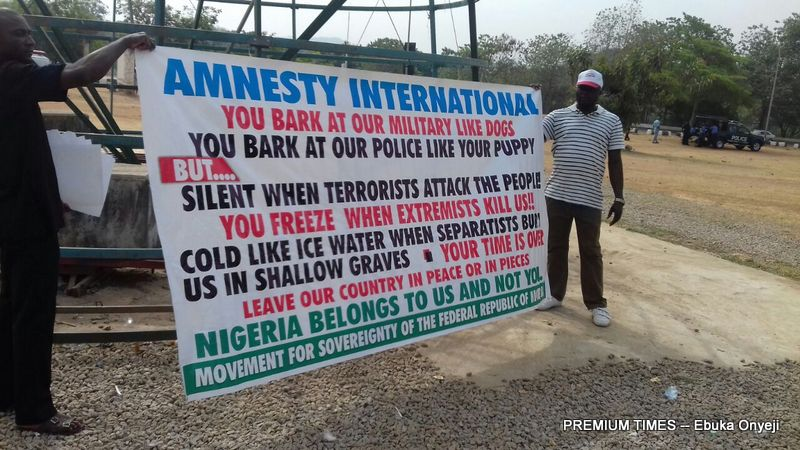 Protesters occupy  Amnesty International office