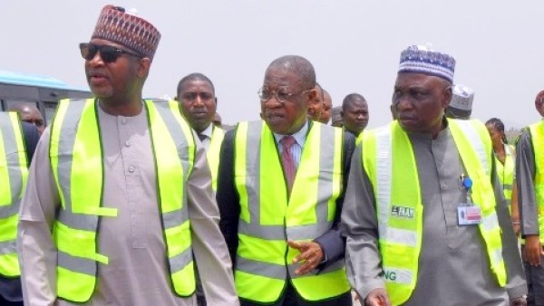 From left: Minister of State for Aviation, Sen Hadi Sirika; Minister of Information and Culture, Alhaji Lai Mohammed; Managing Director and Federal Airport Authority of Nigeria (FAAN), Mr Saleh Dunoma during the inspection of the on-going maintenance work at the Nnamdi Azikiwe International Airport in Abuja on Thursday (30/3/17).