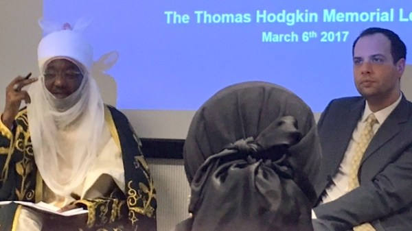 Emir Sanusi delivering the Thomas Hodgin Memorial Lecture at the University of Oxford in the United Kingdom.