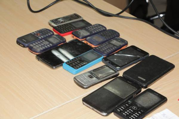 Mobile handsets recovered from the suspects