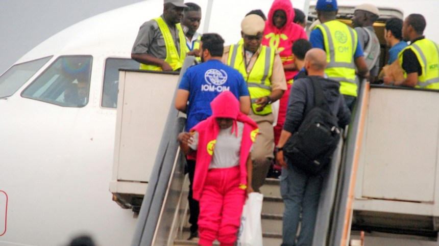 Immigration officials screening Nigerian returnee from Libya during their arrival at the Murtala Muhammed International Airport in Lagos on Thursday.
