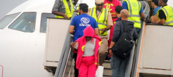 FILE PHOTO: Immigration officials screening Nigerian returnee from Libya during their arrival at the Murtala Muhammed International Airport in Lagos on Thursday.02040/24/3/2017/Uwalaka Benedict/ICE/NAN