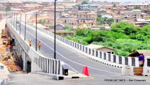 The newly built and commissioned Aboru-Abesan Link Bridge in Alimosho Local Government, Lagos, on Wednesday, March 29, 2017.
