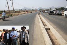 The completed Jalingo -Kona-Lau-Karim Lamido, Phase l Federal Highway.INSET: Hon. Minister of Power, Works & Housing, Mr Babatunde Fashola, SAN (middle), Commissioner of Works & Transportation, Taraba State, Dr. Tafarki Eneme (right) and Managing Director, Moulds Nigeria Limited, Engr. Samuel Oyefemi(left) during the Hon. Minister's inspection tour of the completed Jalingo -Kona-Lau-Karim Lamido Road, Phase l built in partnership with the State Government in Taraba State  on Friday 17, March 2017.